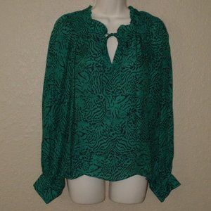 NWT $258 Sz S Parker Green Black Print Blouse